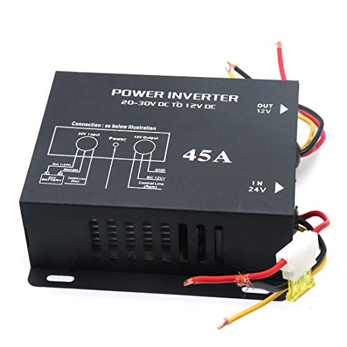Sydien Power Transformer DC 24V Step-Down to DC 12V 45A Buck Converter Regulator Power Inverter with Fuse for Car Truck Vehicle ()