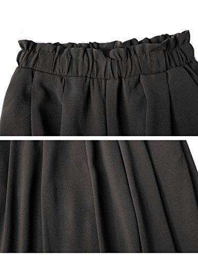 cintur Casual Tama con Chic grande Palazzo Mujer Waist Elasticated Piernas pantalones ancha fluidas de Chiffon Abollria o acampanado pierna High 1qUw4ZfcH
