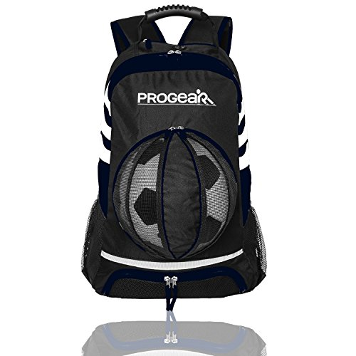 Soccer Backpack w/Ball Pocket - Sports Gym Bag Holds Shoes, Cleats, Water Bottles & Athletic Equipment - Comfort Fit Adjustable Straps - Unisex Design