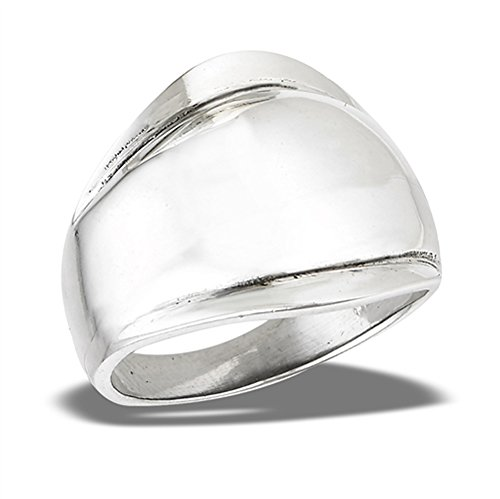 Wide High Polish Dome Large Shiny Ring New .925 Sterling Silver Band Size 8