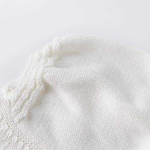 NUWFOR Newborn Baby Girls Boys Knitted Toddler Puff Sleeves Jumpsuit Clothes Outfits(White,6-9 Months) by NUWFOR (Image #4)