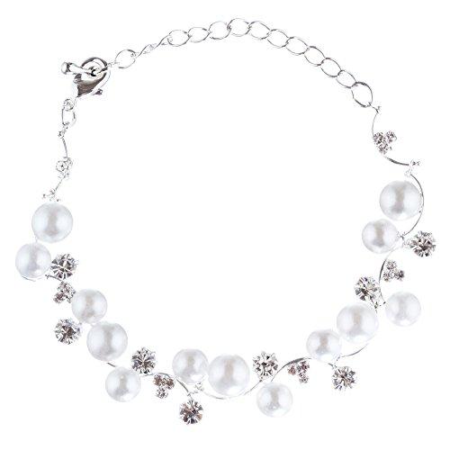 Bridal Bracelet Crystal Rhinestone Pearl White