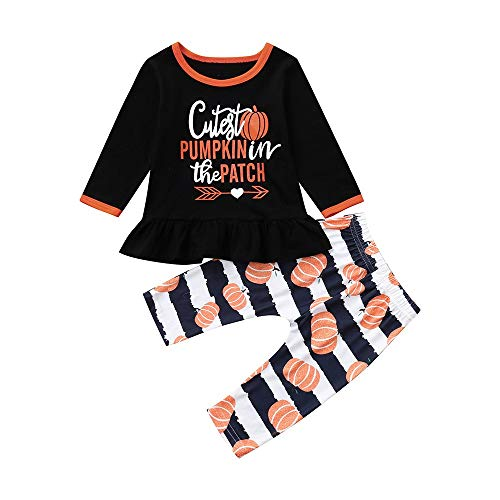 Pumpkin Print Cute Infant Baby Girl Boy Clothes Long Sleeve Tops Dress with Pants Outfits Set 2PC (12-18 Months, Orange)]()