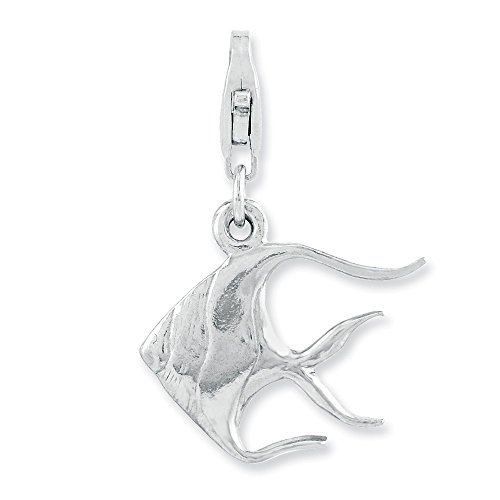 Jewelry Pendants & Charms Themed Charms Sterling Silver Rhodium-plated 3-D Angel Fish with Lobster Clasp Charm