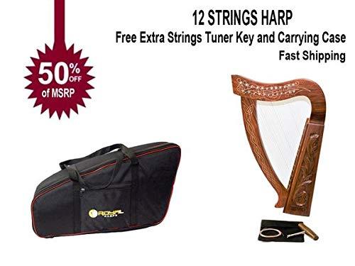 Celtic Irish Baby Harp 12 Strings Solid Wood Free Bag Strings Key by ROYAL HARPS (Image #9)