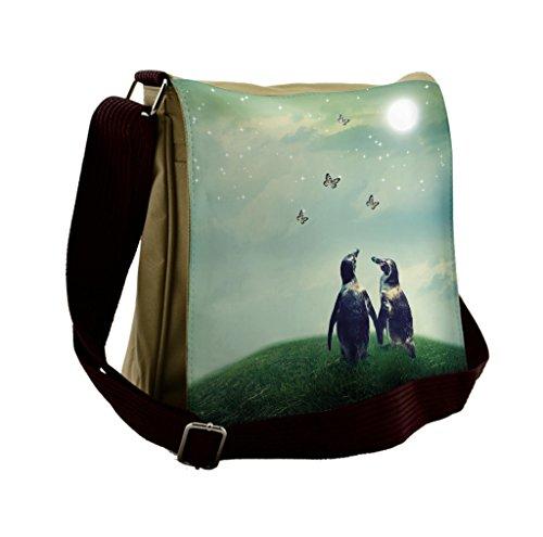Lunarable Surrealistic Messenger Bag, Penguin Couple Grass, Unisex Cross-body by Lunarable