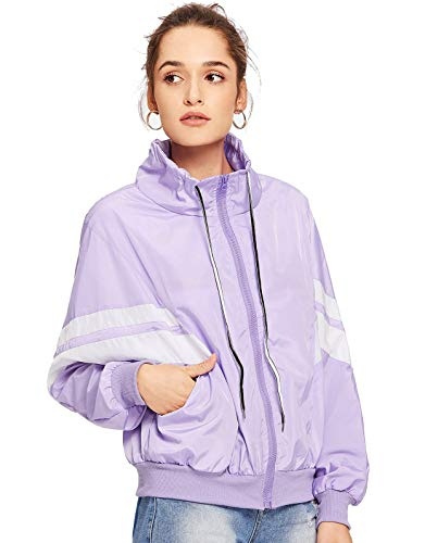 Purple Windbreaker - Floerns Women's Casual Zipper Jacket Stand Collar Striped Sleeve Thin Wind Breaker Purple M