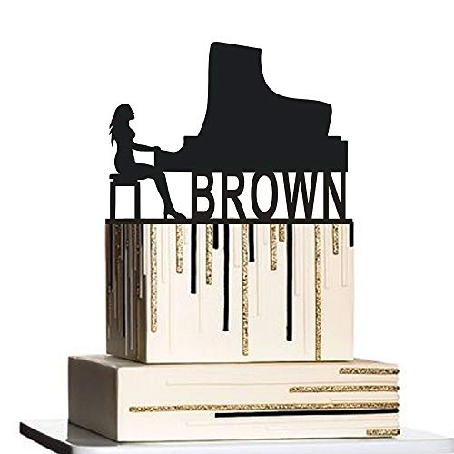 Grand Piano Cake Topper,Pianist Cake Topper,Personalized Cake Topper,Piano Cake Topper,Woman Play Piano,Pianist Party,Grand Piano Decor ()