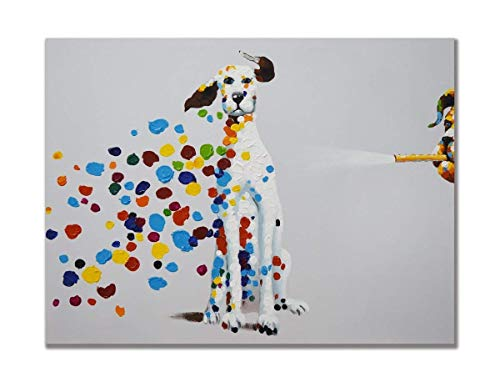 BABE MAPS 12 x 18 Inch Wall Art Funny Colorful Footprint 100% Hand Painted Oil Painting Canvas Animal Artwork Ready Hang Artwork Painting on Canvas Home -