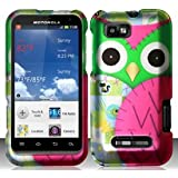 Motorola Defy XT XT556 / XT557 (StraightTalk/US Cellular) Colorful Owl Design Hard Case Snap On Protector Cover + Car Charger + Free Opening Tool + Free American Flag Pin