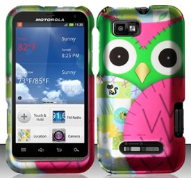 Motorola Defy XT XT556 / XT557 (StraightTalk/US Cellular) Colorful Owl Design Hard Case Snap On Protector Cover + Free Opening Tool + Free American Flag Pin (Covers Motorola Xt Defy Phone)