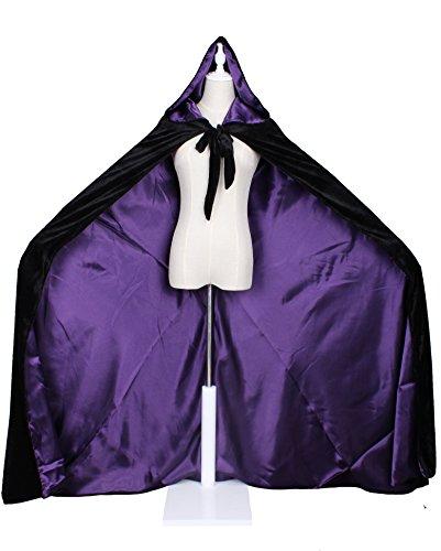 LuckyMjmy Velvet Renaissance Medieval Cloak Cape lined with Satin (Plus, Black-Purple)