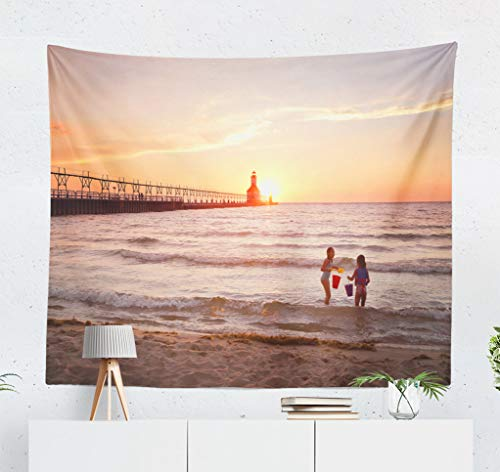 (threetothree Lake Houses Wall Tapestry, 60X50 Inches Decorative Wall Hanging Tapestry Lighthouse Lake Sunset Lake Shoreline Lighthouse Great Beach for Bedroom Living Room Tablecloth Dorm)