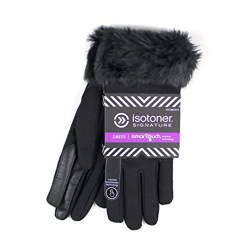 ISOTONER WOMENS FAUX FUR DRESS THERMAFLEX LINED INVISIBLE SMARTOUCH GLOVES (XL, Black)