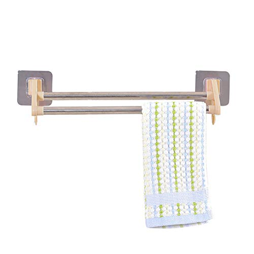 MG554zy0 Kitchen Multifunctional Towel Cabinet Rack Hanger Bathroom Double Pole Holder Khaki ()