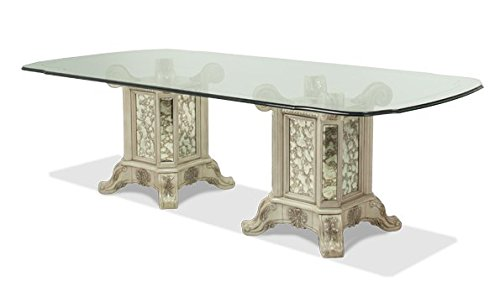 "NEW Platine de Royale 7pc 102"" Rectangular Glass Pedestal Dining Set by Michael Amini"