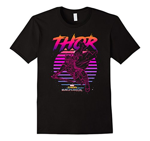 Mens Marvel Thor Ragnarok 80s Retro Sunset Halftone Hero T-Shirt 3XL Black (Tee 80s)