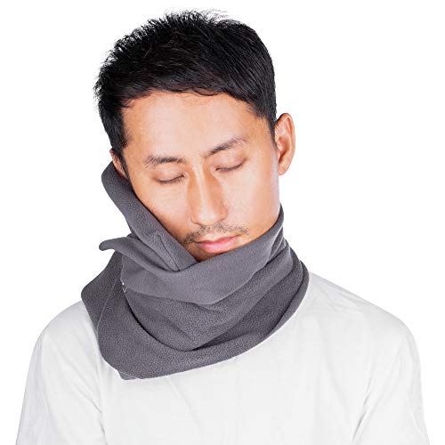 Moone Travel Pillow, Neck Pillow, Neck Support Wrap with Soft Fleece Cover, Airplane Pillows - Flight Pillow for Sleeping in Lightweight Portable, Machine Washable (Grey).