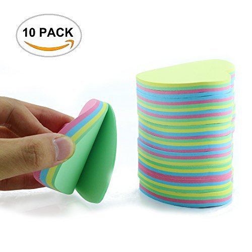 10PACK Fyess Rainbow Love Heart-shaped Self Sticky Notes Self-Adhesive Sticky Note Cute Notepads 100 Sheets Per Pad.(10 PACK, ()