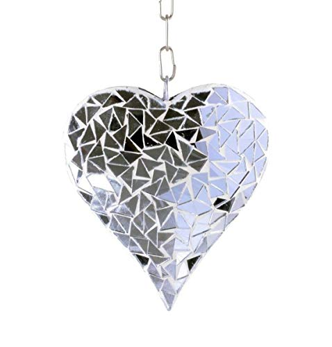 Lovely999 Silver Mosaic Glass Hanging Suncatcher Heart Mobile Garden Home Ornament Tile Peacock Hanging Wood Wall 19 Southwestern from Lovely999