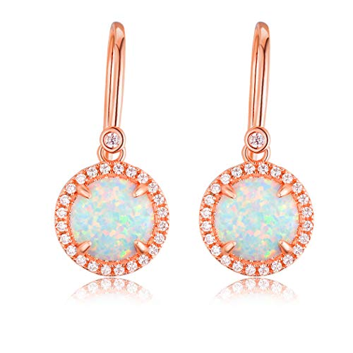 18K Rose Gold Plated White Opal Drop Dangle Earrings with Cubic Zirconia Halo for Women with Sensitive Ears