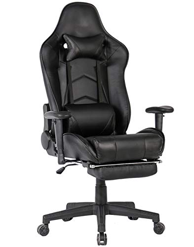 Gaming Chair with Footrest Ergonomic Computer Gaming Chairs Video Game Chair PC Racing Computer Chair for Gamer with Lumbar Support (Black with footrest)