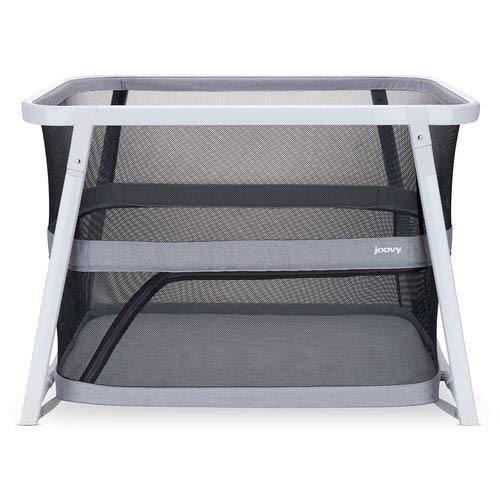 Joovy Coo Portable Bassinet, Portable Playpen, Rocks or Stay Put, Gray
