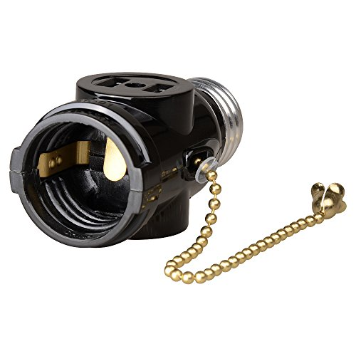 Maxxima Dual Outlet Light Socket Adapter With Pull Chain
