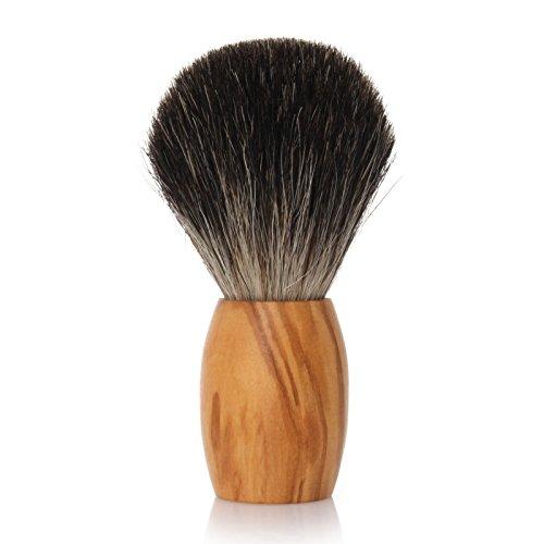 GOLDDACHS Shaving brush, 100% badger hair, olive wood