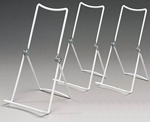 Hinged Stand (Metal Wire Easels White Vinyl Coated Display Plate Stand Holder Hinged Adjustable Multi Position - Set of)