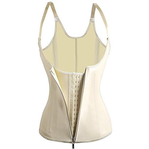 Uhnice Women's 4 Steel Boned Latex Waist Trainer Corset Waist Shaper with Zip (Medium, Ivory) ()