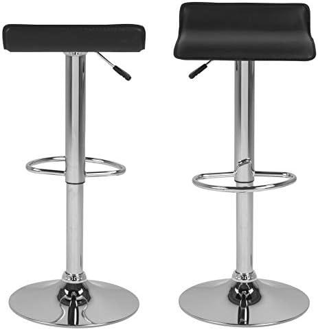 AC Design Furniture Donald Tabourets, Simili Cuir, Noir, L: 39 x l: 38 x H: 86 cm