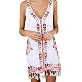 Quealent Women Summer Boho Tassel Dresses Casual Print Sleeveless Beach Sundress Knee Length Swing Dress White