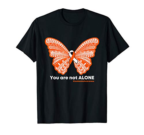 Leukemia Butterfly Ribbon - Leukemia Butterfly Ribbon You Are Not Alone Shirt