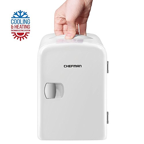 Chefman Portable Compact Personal Fridge Cools & Heats, 4 Liter Capacity Chills Six 12 oz Cans, 100% Freon-Free & Eco Friendly, Includes Plugs for Home Outlet & 12V Car Charger - White by Chefman