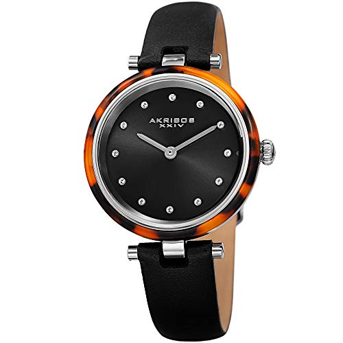 Akribos Swarovski Crystal Markers Watch, Tortoise Shell Bezel, Sunray Dial, Quartz Movement, Comfortable Designer Women's Leather Watch - AK1052BK