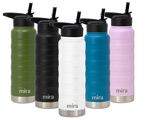 (MIRA 25 Oz Stainless Steel Vacuum Insulated Ridge Water Bottle | Double Walled Thermos Flask | 24 Hours Cold, 12 Hours Hot | Reusable Metal Water Bottle | Leak-Proof Sports Bottle | White)