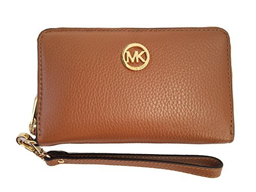 Michael Kors Fulton Large Flat Multifunction Leather Phone Case (Luggage Brown) (Michael Kors Jet Set Large Multifunction Phone Case)