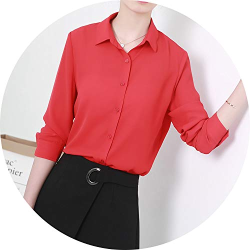 New Women's Shirt Classic Chiffon Blouse Female Plus Size Loose Long Sleeve Casual Shirts,008,S