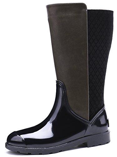 Classic Brown Black Wellington TONGPU Wellies Rain Women's Boots Zip Design Black Black 5xOqPBqwn