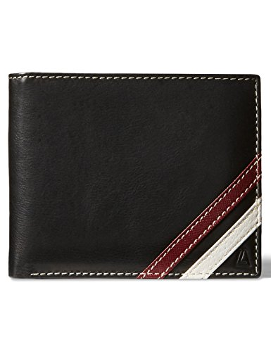 Leather Architect Men's 100% Leather RFID Blocking Bifold Wallet with Removable Card Holder Black Burgundy