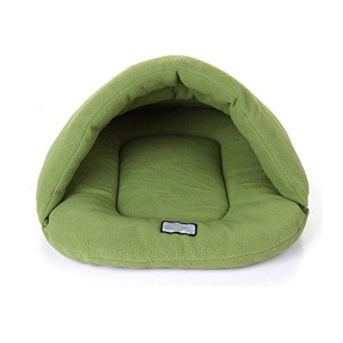 LNGRY New Warm Winter Puppy Cave House Sleeping Bag Mat Pad Puppy Pet Cat Dog Nest Bed (Green, M)