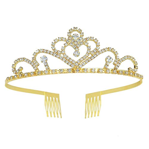 Metal Princess Belle Crown Gold Tiara Crystal for Girls Women Halloween Cosplay Birthday Party Costume Hair Accessories ()