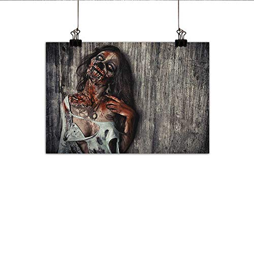 Littletonhome Zombie Wall Art Decor Poster Painting Angry Dead Woman Sacrifice Fantasy Design Mystic Night Halloween Image Decorations Home Decor 35