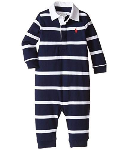 - Ralph Lauren Baby YD Rugby Jersey Stripe Coveralls Infant French Navy Multi Boy's Overalls One Piece