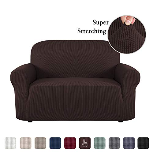 Flamingo P Stretch Sofa Slipcover 1 Piece Sofa Covers for 2 Cushion Couch Slipcovers Machine-Washable Sofa Slipcover for Loveseat, Jacqaurd Spandex Sofa Slip Cover for Leather (2 Seater, Brown)