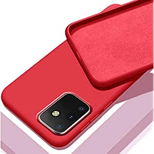 Mobistyle Slim Matte Liquid Silicone Rubber Gel TPU Shockproof Slim Back Cover Case for oneplus 9 (Red)