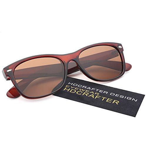 HDCRAFTER Classic Unisex Polarized Mirror Lens Wayfarer Sunglasses - Brown Wayfarer Sunglasses