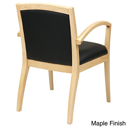 Office Star Napa Full Cushion Black Eco Leather Back and Seat Wood Guest Chair, Maple Finish - Maple Wood Finish Chair