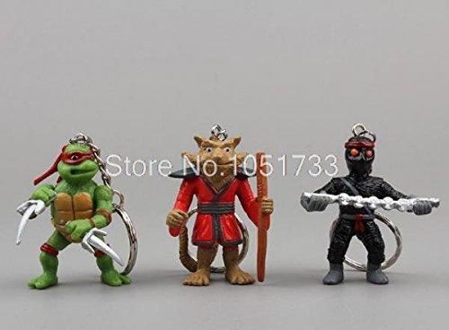 Anime Cartoon TMNT Teenage Mutant Ninja Turtles Figure Keychains PVC Action Figure Toys Dolls 6pcs/set